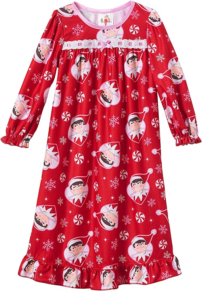 Horcute V-Neck Girls Long Sleeve Mixed-Cotton Nightgown