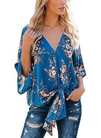 d3565ce45d6 Womens Floral Chiffon Blouse Short Sleeve V Neck Tie Front Summer Tops T- Shirt