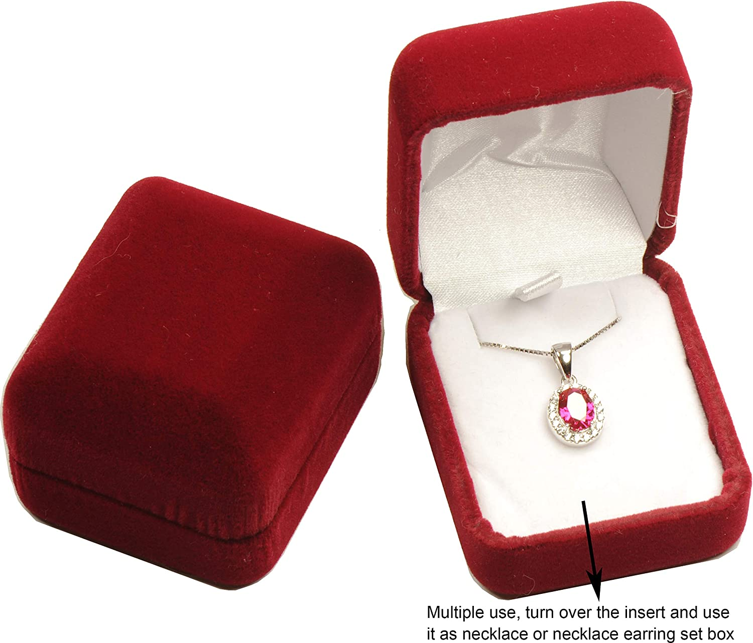 D *1.5〞 W with an Indiv H Not a Bigger Earring Necklace Box, Suggested for Small Earring Necklace Sets *2.16〞 Wholesale Luxury Velvet Multiple Use Earring Necklace Pendant Jewelry Gift Box Burgundy Red Color Soft Touch Premium Velvet Material Size 1.85〞