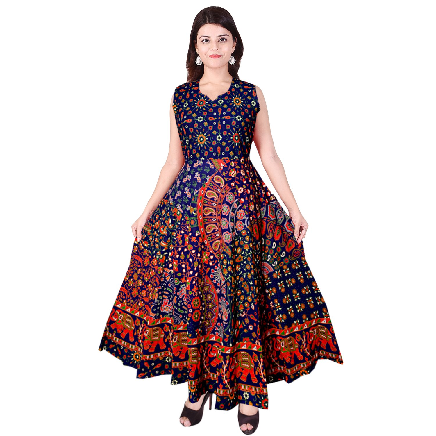 e04ee1d171 JWF Women's Cotton One Piece Jaipuri Print Long Dress (FR_4818,  Multicolour): Amazon.in: Clothing & Accessories