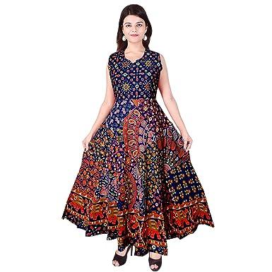b49e79e112 JWF Women's Cotton One Piece Jaipuri Print Long Dress (FR_4818 ...
