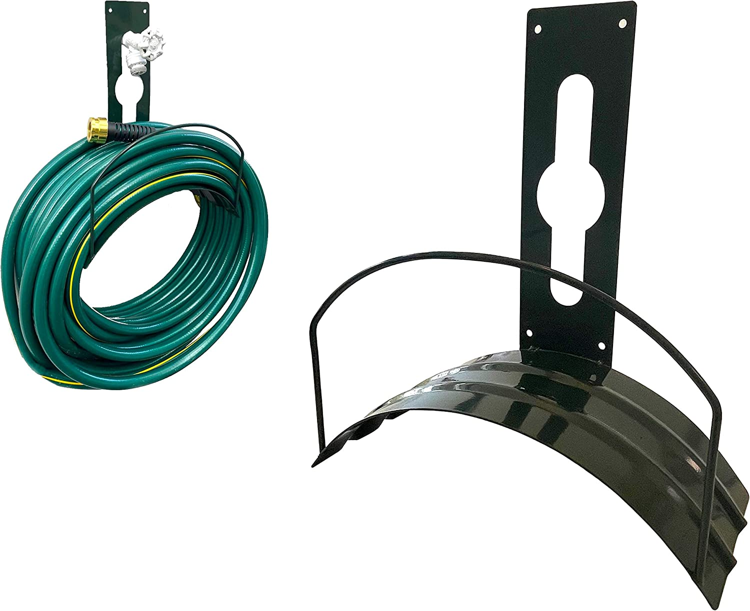 Garden Hose Hanger Deluxe Heavy Duty Hose Holder Wall Mount Hose Hook Holds Up To 125 Feet Hose Solid Steel Extra Bracing DUAL Function Hang from Spigot or Wall Mount Hose Rack Water Hose Wall Mount