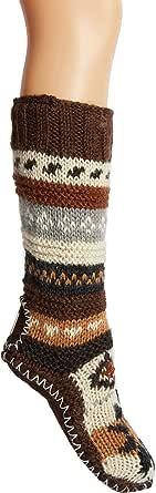 Hand Knit Wool Fleece Lined Long Slipper Socks   Tibetan Socks