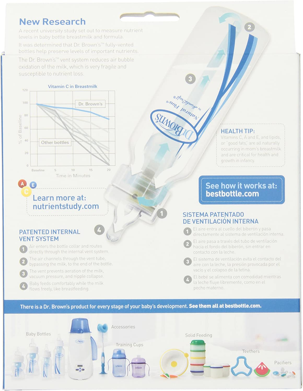 Dr Browns BPA Free Polypropylene Natural Flow Standard Neck Bottle 4 oz 3-Pack