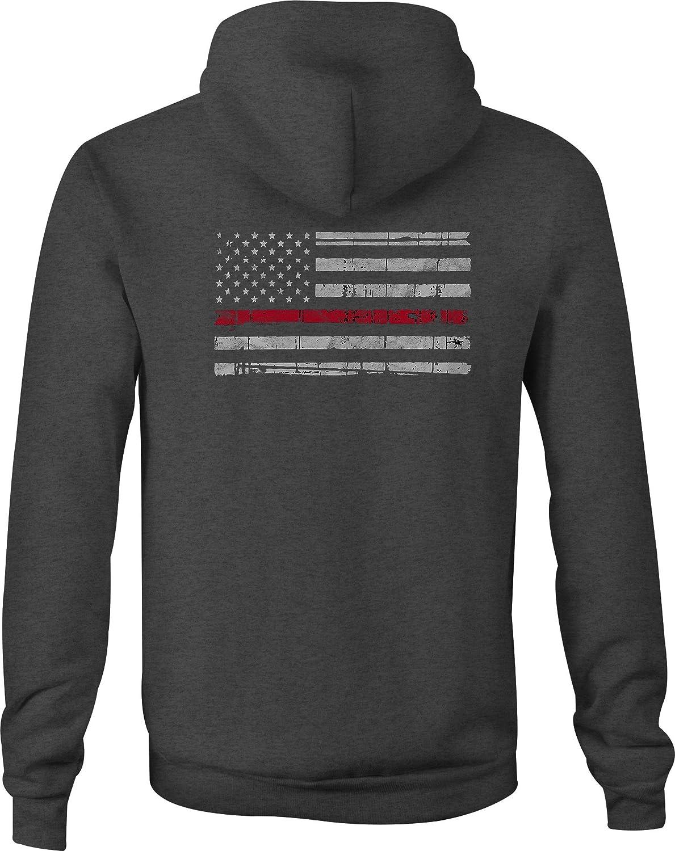 Zip Up Hoodie Distressed American Flag Thin Red Line