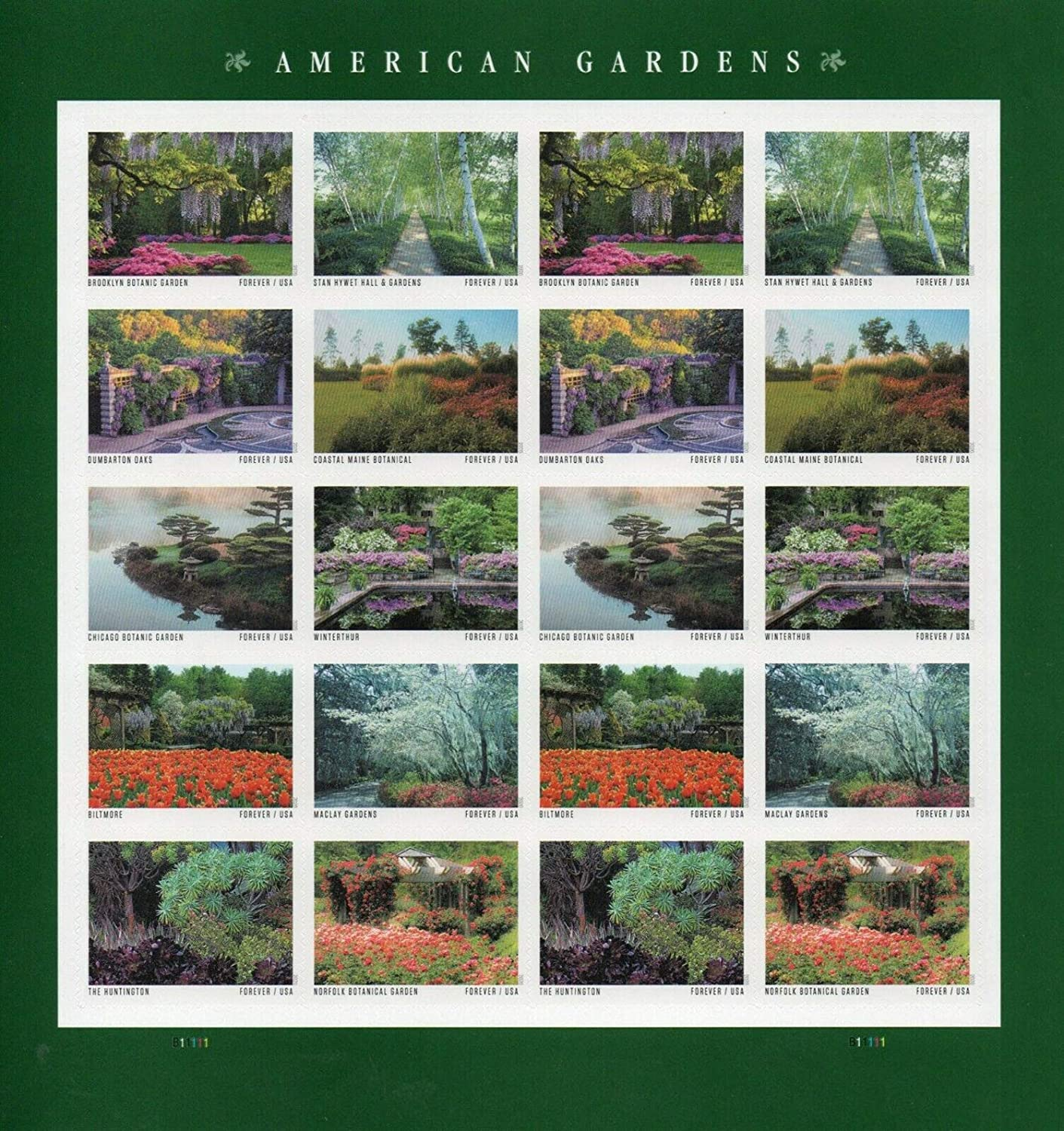 American Gardens Sheet of 20 Forever Postage Stamps Scott 5470a