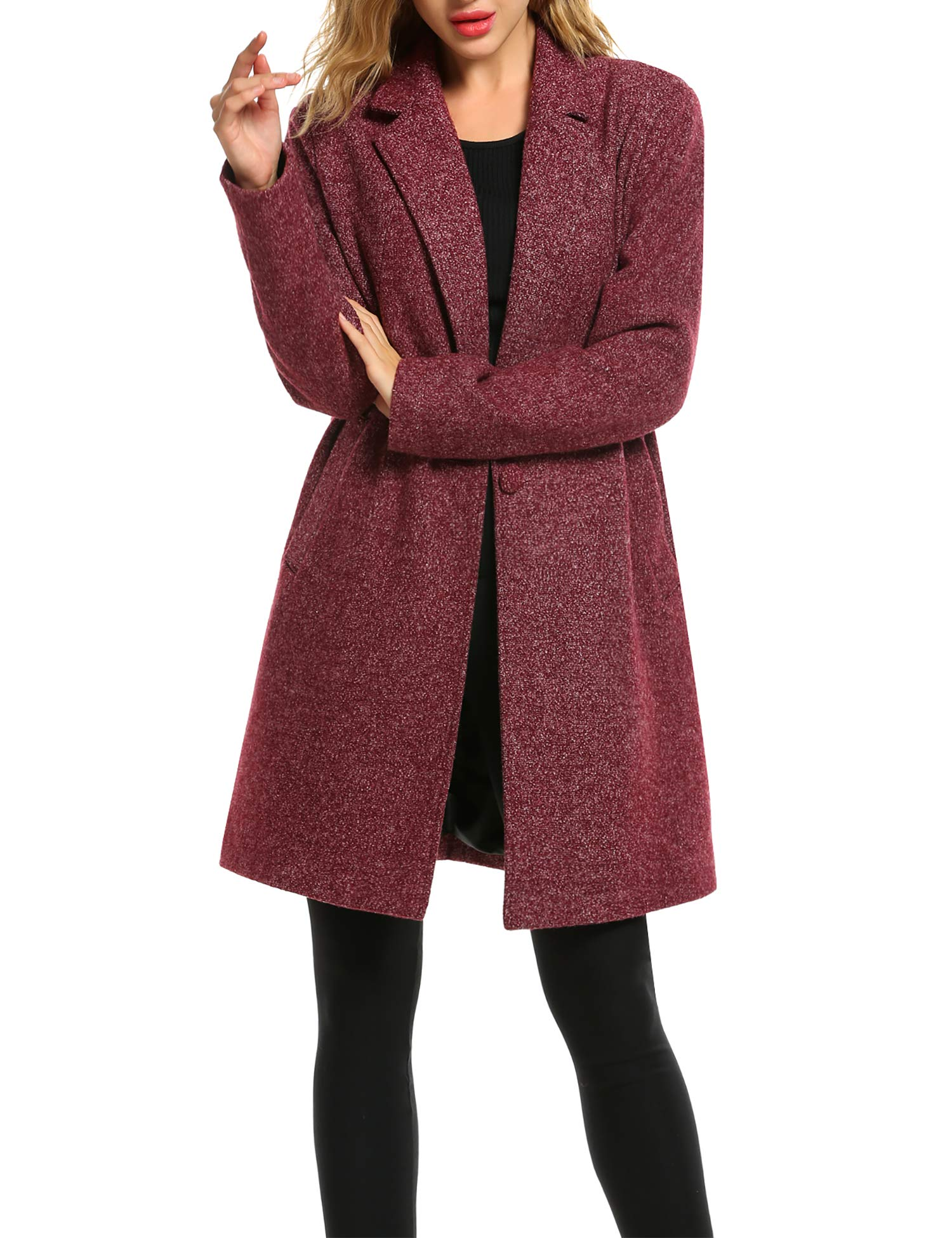 Zeagoo Fashion Woll Trenched Coats Women Casual Long Trench Coat Single Breasted Wool Jacket Lightweight Cardigan Winter Outwear Work (Small,Red)