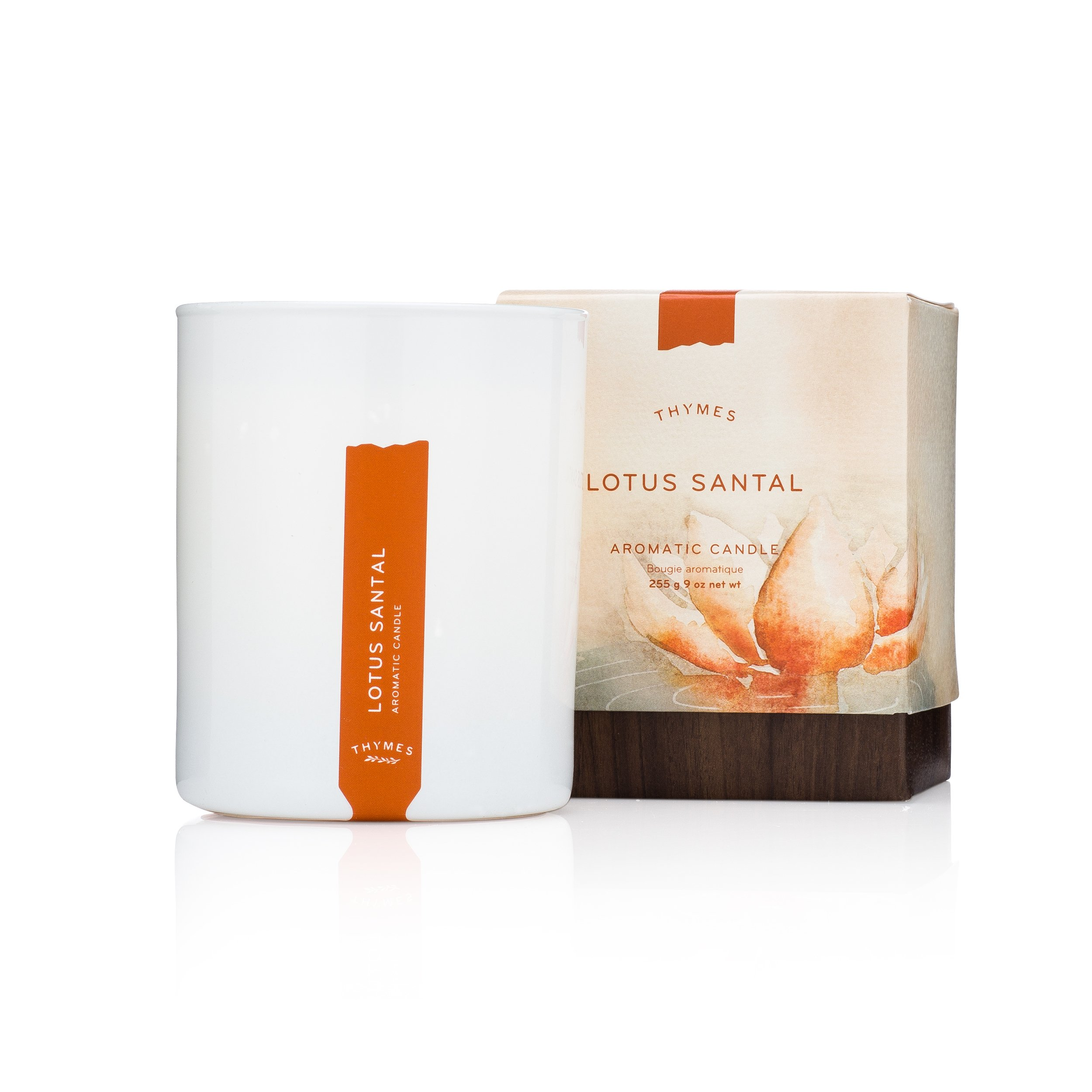 Thymes - Lotus Santal Aromatic Scented Candle - Long Lasting Sandalwood Scent with Gift Box - 9 oz