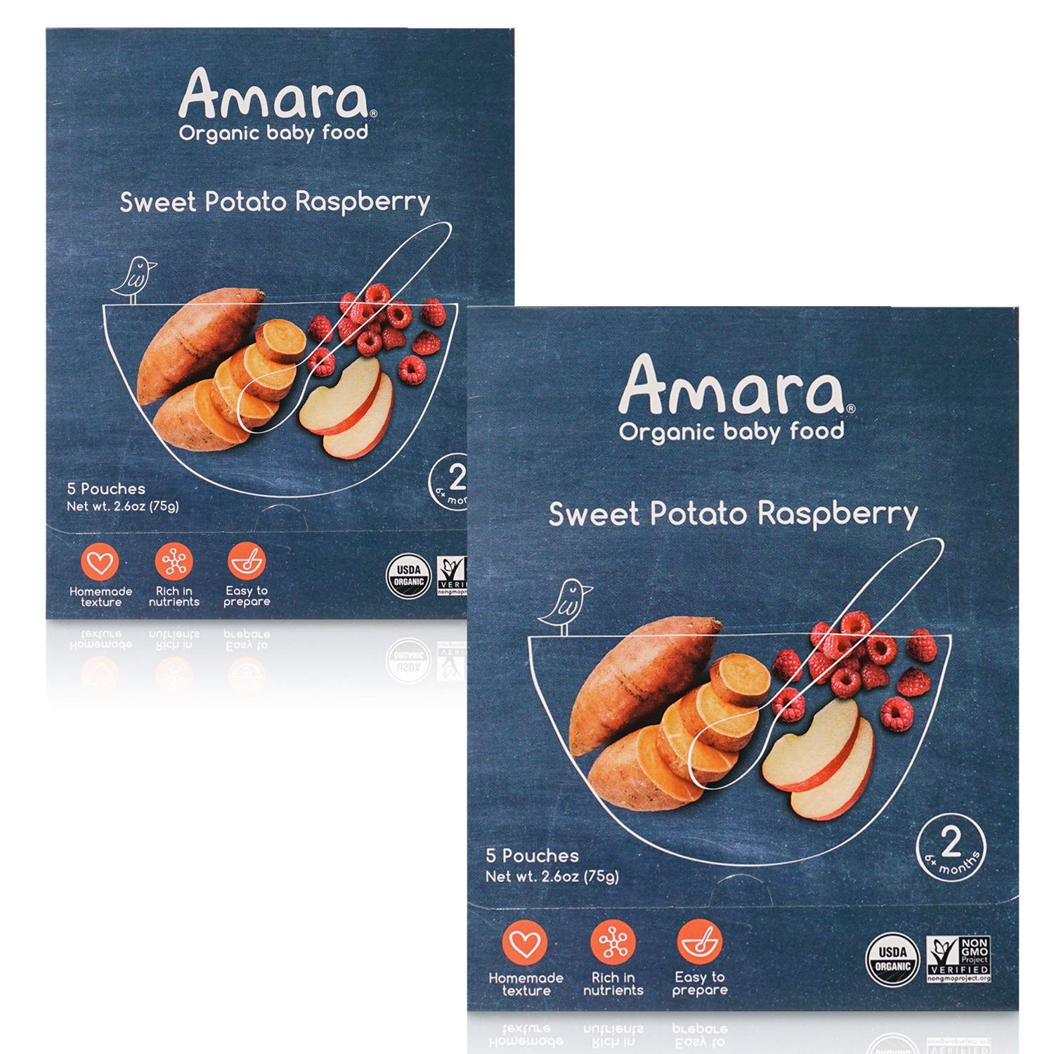 Amara Organic Baby Food | Sweet Potato Raspberry | Homemade Made Possible | Mix with Breastmilk or Water | Certified Organic, Non-GMO, No Added Sugars| Stage 2 | 10 Pouches