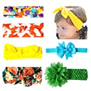 6-8 PCS Baby Headbands Turban Knotted - Girl's Hairbands bling bows for Newborn, Toddler and Childrens