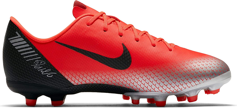 Nike Jr Vapor 12 Academy GS Cr7 Mg - Bright Crimson schwarz-Chrome-da - Fussball-Nocken-Schuhe (FG)-Kinder, Größe   3.5Y