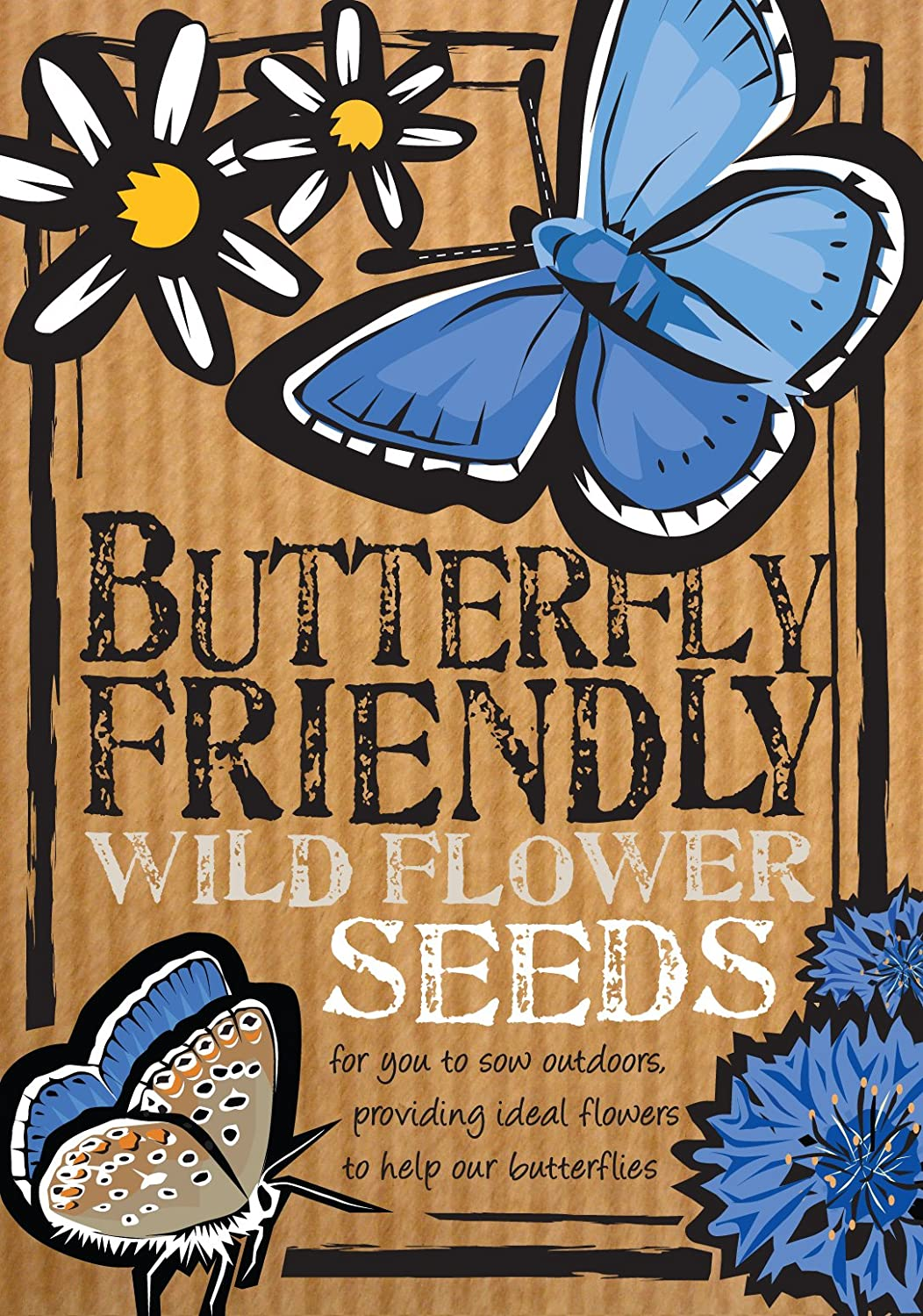 Butterfly Friendly Wild Flower Seeds,        Beautiful Flowers In Many  Colours, Great Gardener Gift Or Stocking Filler, Over 1000 Seeds Per  Packet, ...