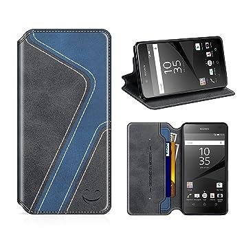 MOBESV Smiley Funda Cartera Sony Xperia Z5, Funda Cuero Movil Sony Xperia Z5 Carcasa Case con Billetera/Soporte para Sony Xperia Z5 - Negro/Azul ...