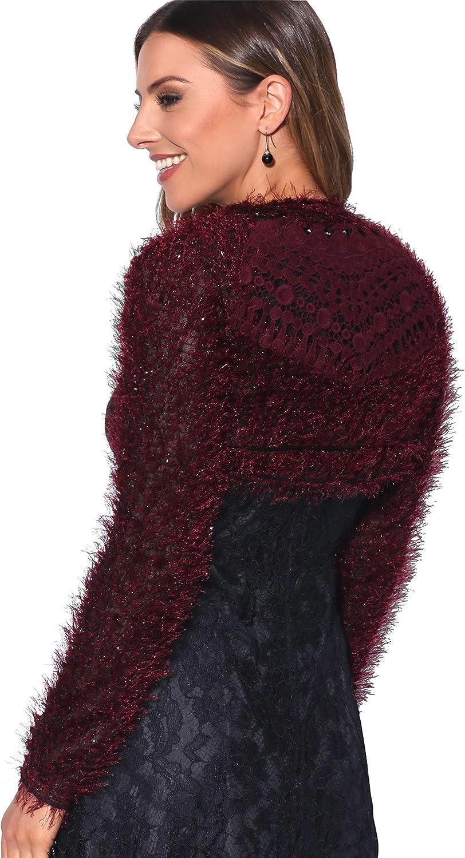 Women Ladies Fluffy Knit Cropped Cardigan Shrug Bolero Sweater Top Winter Blazer