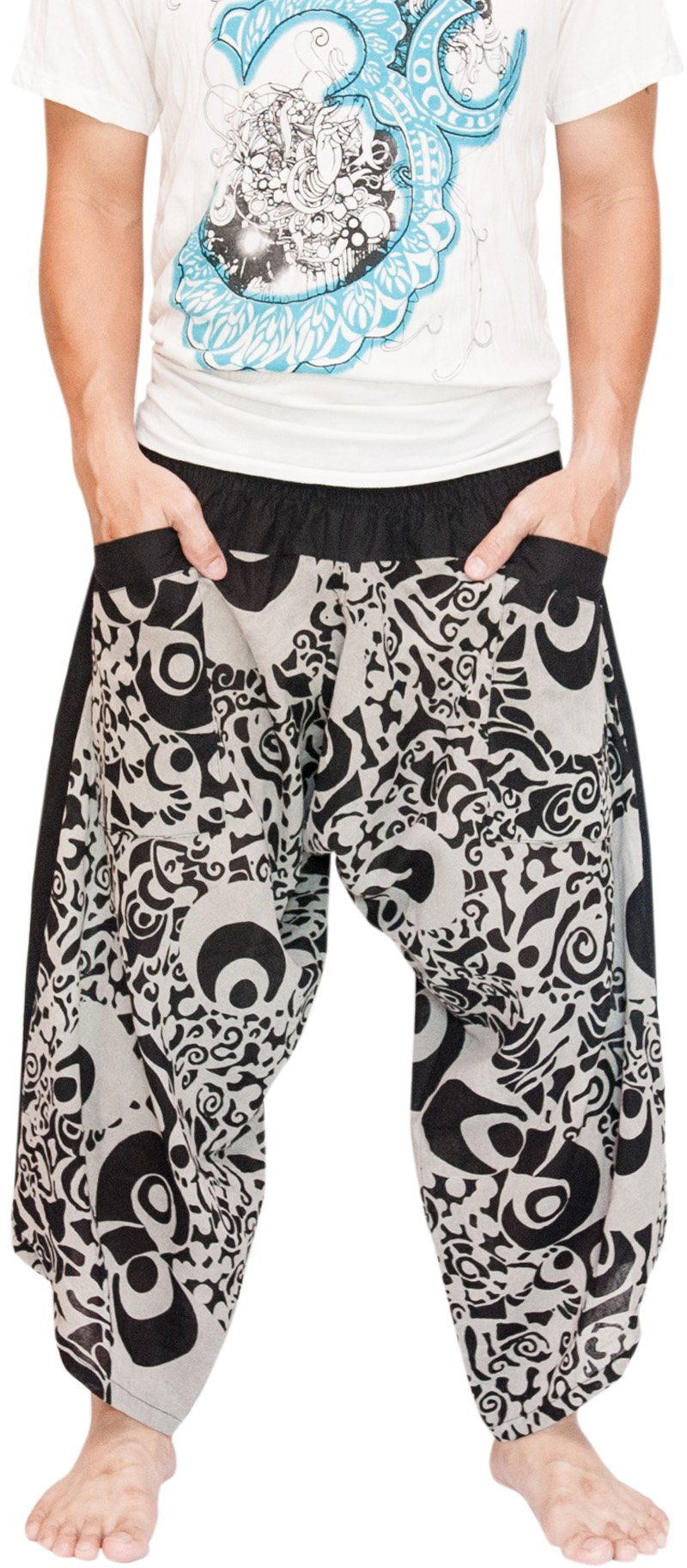 BohoHill Ninja Samurai Harem Pants Unisex Active Trousers Haka Tribal Black by BohoHill