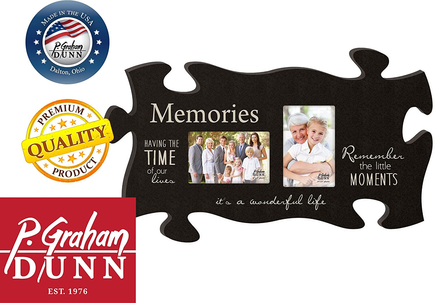 P Graham Dunn Memories Its a Wonderful Life Black 13 x 22 Wall Hanging Double Photo Puzzle Piece Frame