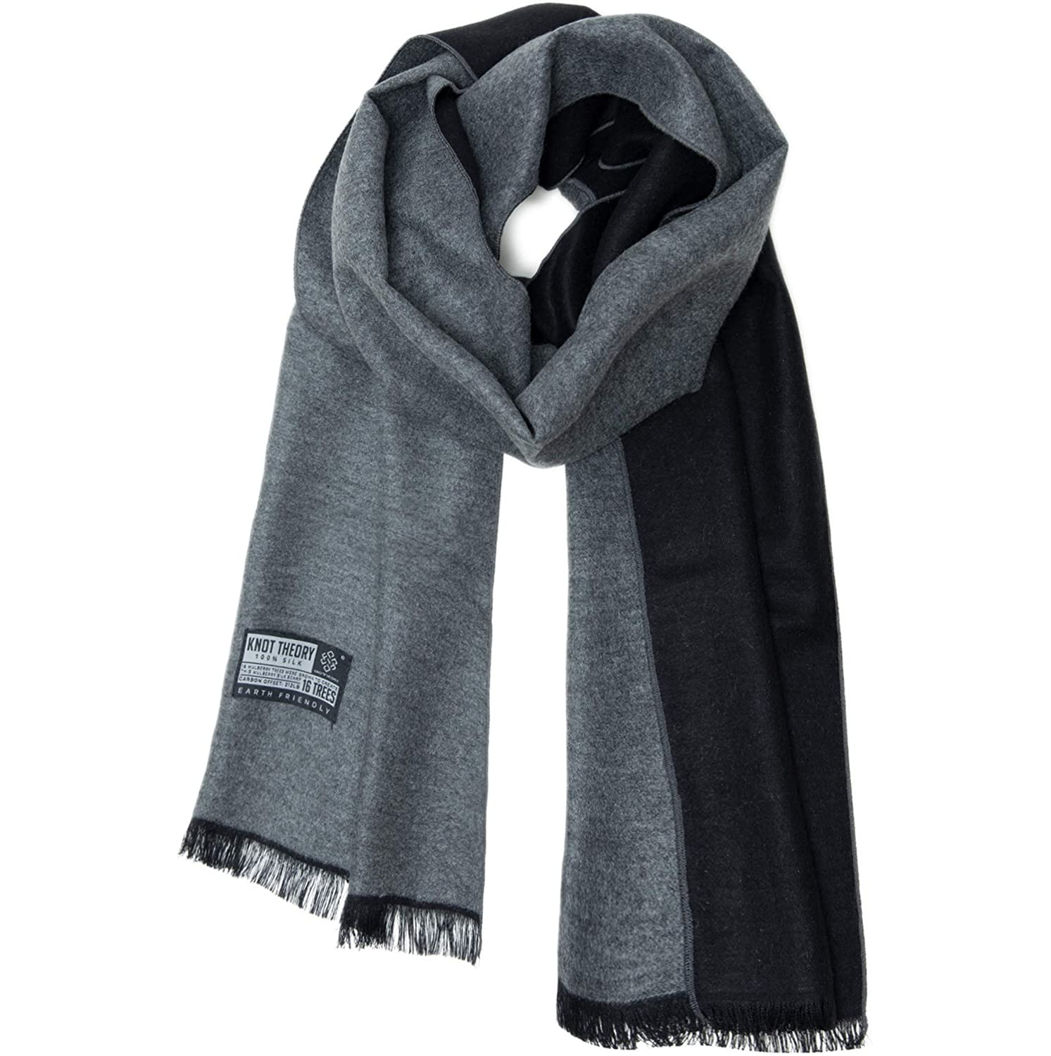 9998f0b2a Knot Theory Silk Winter Scarf Softer than Cashmere - Black Grey for Men &  Women at Amazon Men's Clothing store: