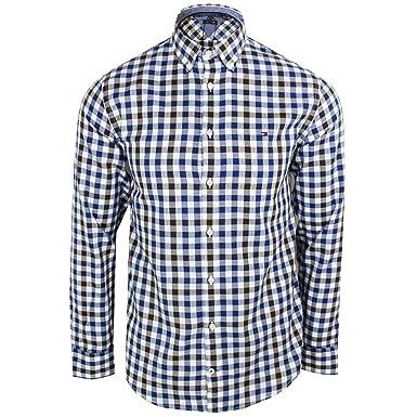 e4c1d61901d Tommy Hilfiger Mens Blue White Black Gingham Shirt L  Amazon.co.uk  Clothing