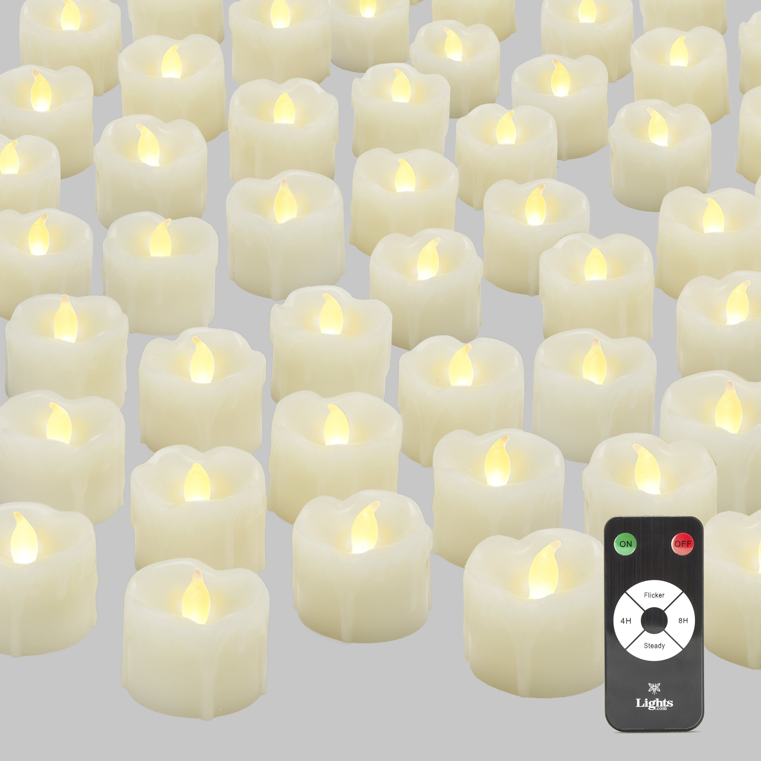 Flameless LED Tea Light Candles with Remote, BULK VALUE SET | 120 Drip Wax Tealights with Warm White Glow, Unscented, Batteries Included by LampLust