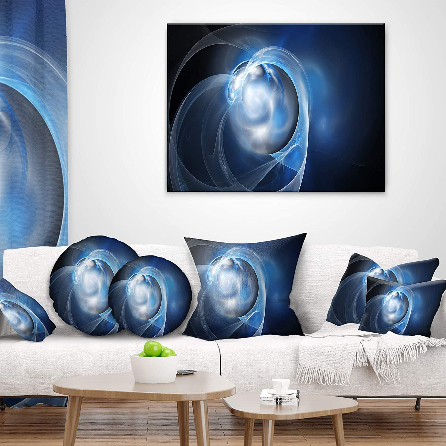 Designart CU8617-16-16-C Fractal Lighting in Dark Blue Abstract Round Cushion Cover for Living Room Sofa Throw Pillow 16