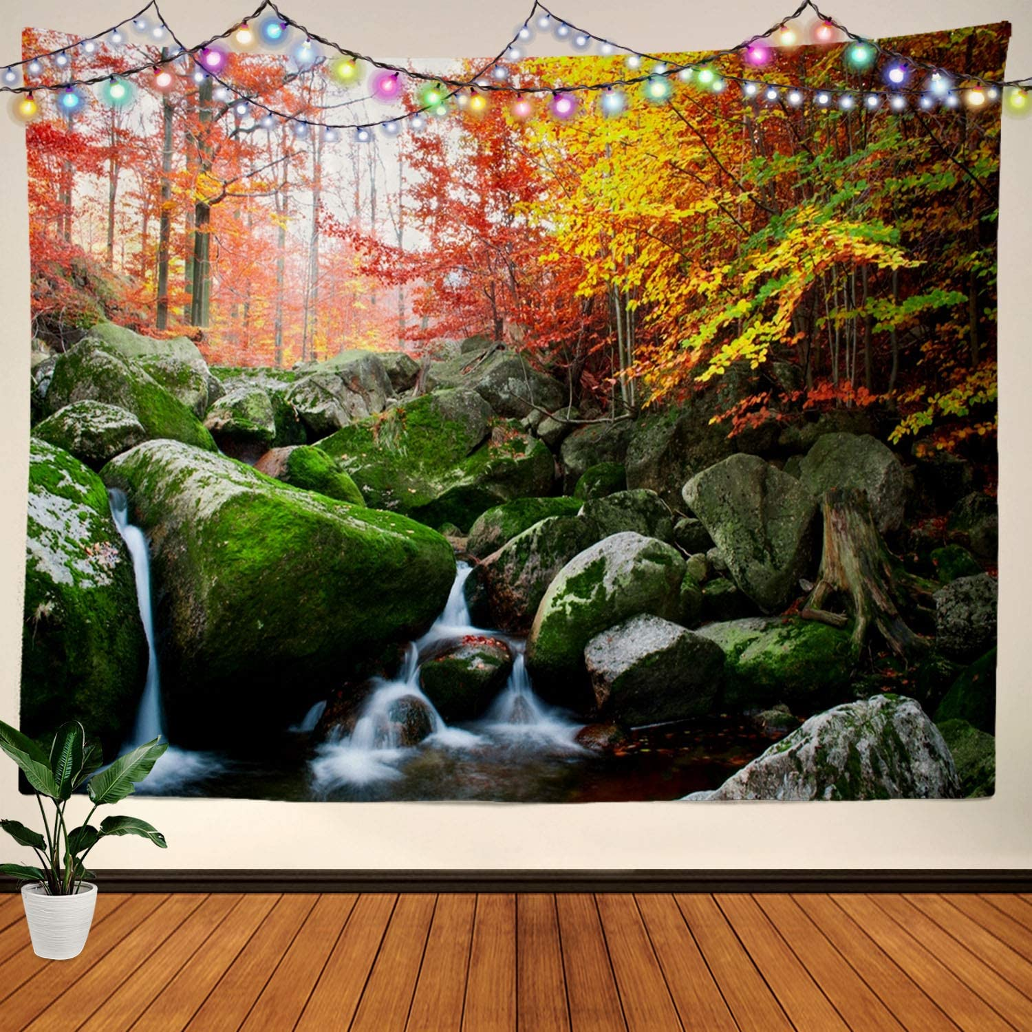 BaoNews Autumn Zen Garden Tapestry, Beautiful Waterfall with Trees Red Leaves Rocks and Large Wall Hanging Tablecloths Tapestry Bedroom Living Room Dorm 59.1 x 82.7 inches(White Blue Green)