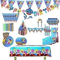 Conjunto de suministros de fiesta de tiburón,decoración de cumpleaños de bebé tiburón,decoración de fiesta de tiburón…