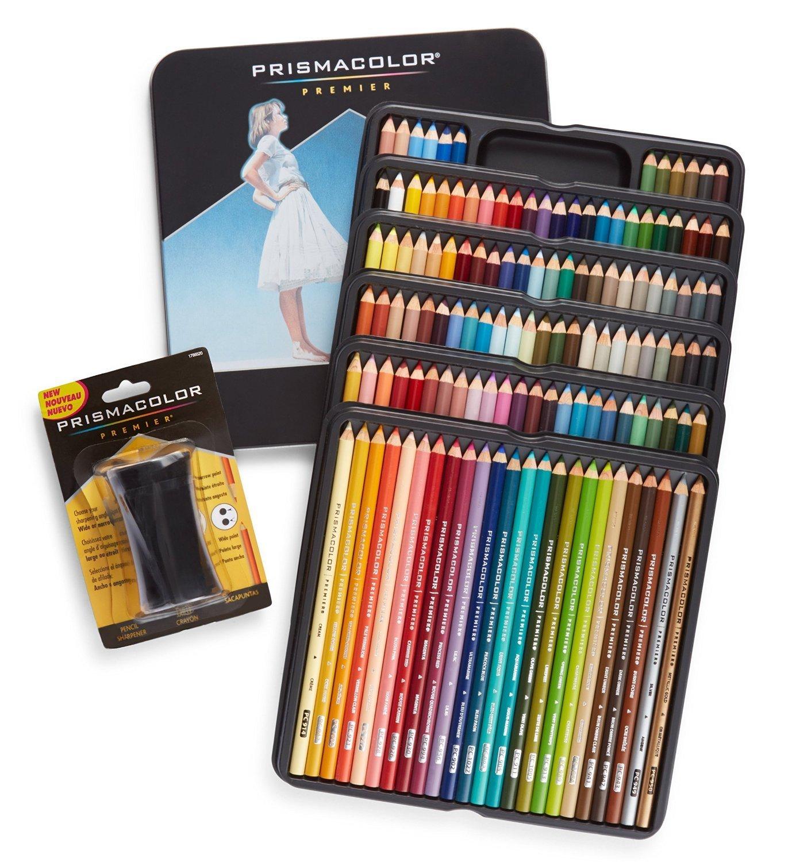 Prismacolor Premier Crayons de couleur, souple, Core, 132Lot (4484) avec Premier taille-crayons (1786520) Sanford