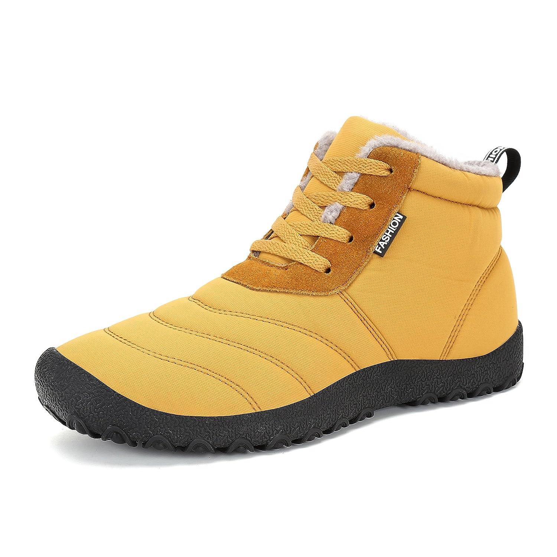 Gelb Licy Life-UK Unisex Herren Damen Erwachsene Winter Hausschuhe Plüsch Outdoor Stiefel Stiefel Warm Gefüttert Schneestiefel Baumwolle Slippers