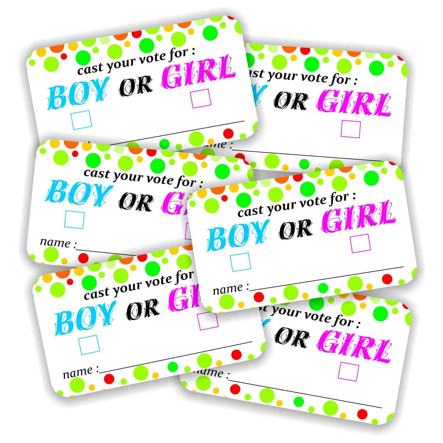 Boy or Girl 2x3.5 Baby Shower Party Voting Games Gender Reveal Vote Cards Pack of 100