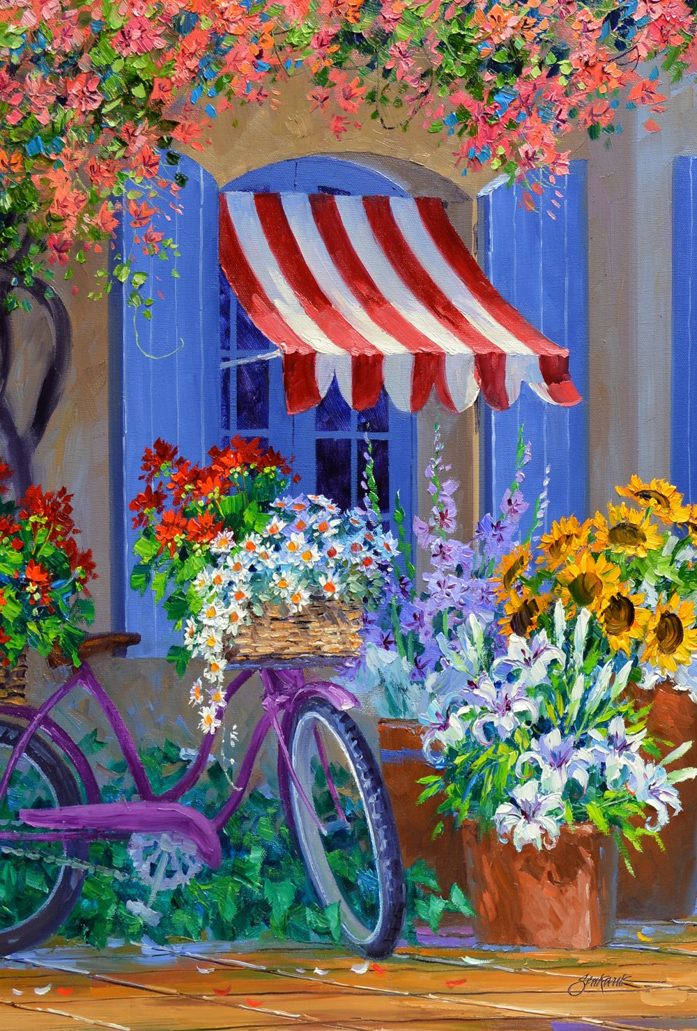 Toland Home Garden Bloomin' Bike 12.5 x 18 Inch Decorative Colorful Spring Summer Bicycle Flower Garden Flag
