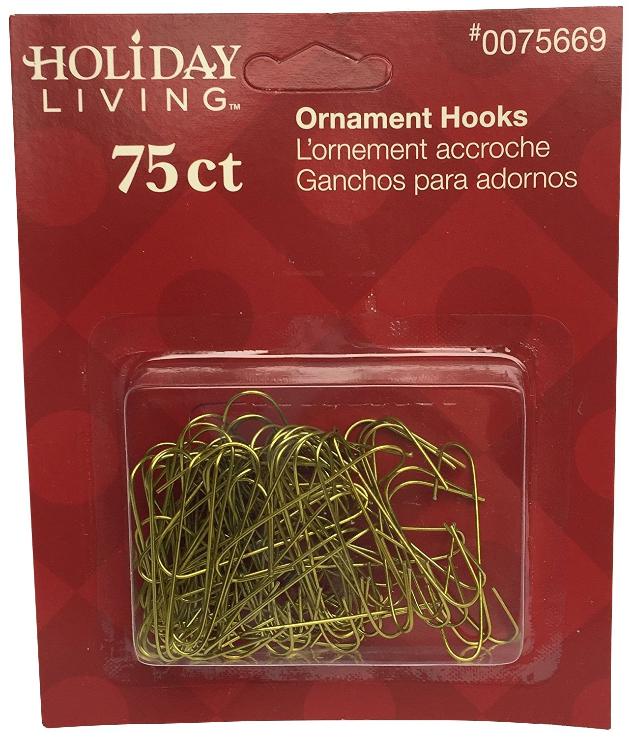 Brass Colored Ornament Hooks: 1 Package of 75 Holiday Living