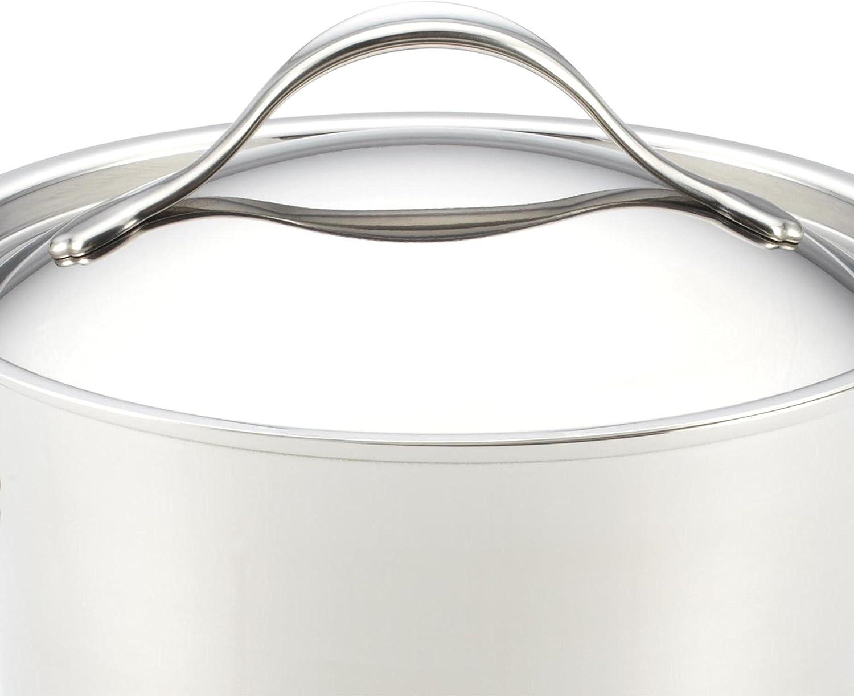Amazon Com Anolon Nouvelle Stainless Steel Sauce Pan Saucepan With Lid 3 5 Quart Silver Kitchen Dining