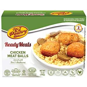 Kosher Mre Meat Meals Ready to Eat, Chicken Meat Balls (1 Pack) - Prepared Entree Fully Cooked, Shelf Stable Microwave Dinner, Deliverd Home – Travel, Military, Camping, Emergency Survival Canned Food