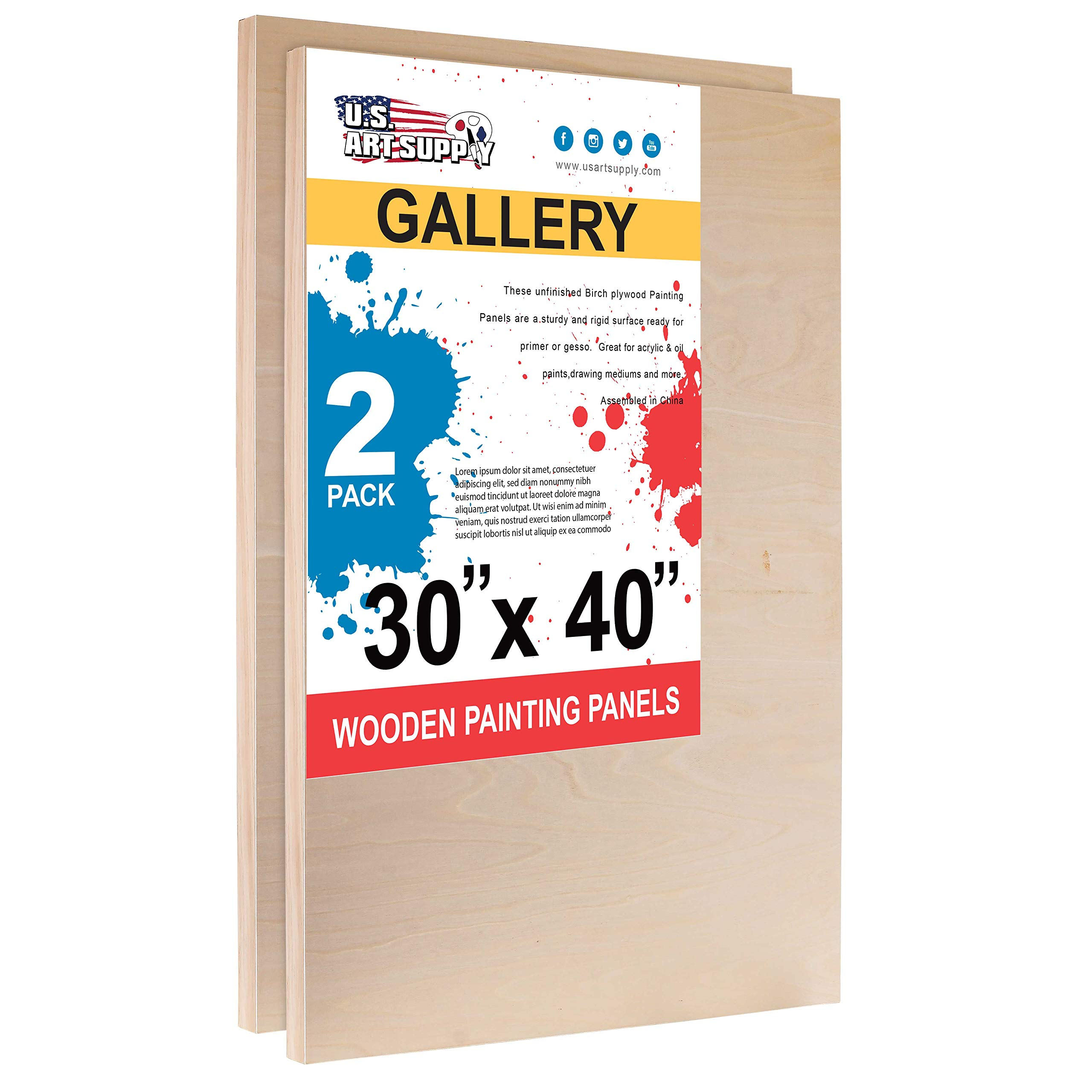 U.S. Art Supply 30'' x 40'' Birch Wood Paint Pouring Panel Boards, Gallery 1-1/2'' Deep Cradle (Pack of 2) - Artist Depth Wooden Wall Canvases - Painting Mixed-Media Craft, Acrylic, Oil, Epoxy Pouring by U.S. Art Supply
