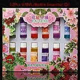 LuckyFine 9.9ml 12 Bottiglie Di Ad Olio Essenziali Colorate Aromaterapia Solubile In Acqua Umidificatore Aromaterapia Oli Essenziali Di Solubile In Acqua
