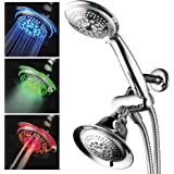 HotelSpa Shower Combo with LED Shower Head. High-Performance 2 in 1 Combination Shower System Use Overhead Hands-Free Enjoy Regular or LED Shower Pampering Shower Heads and Ambiance of LED Lighting