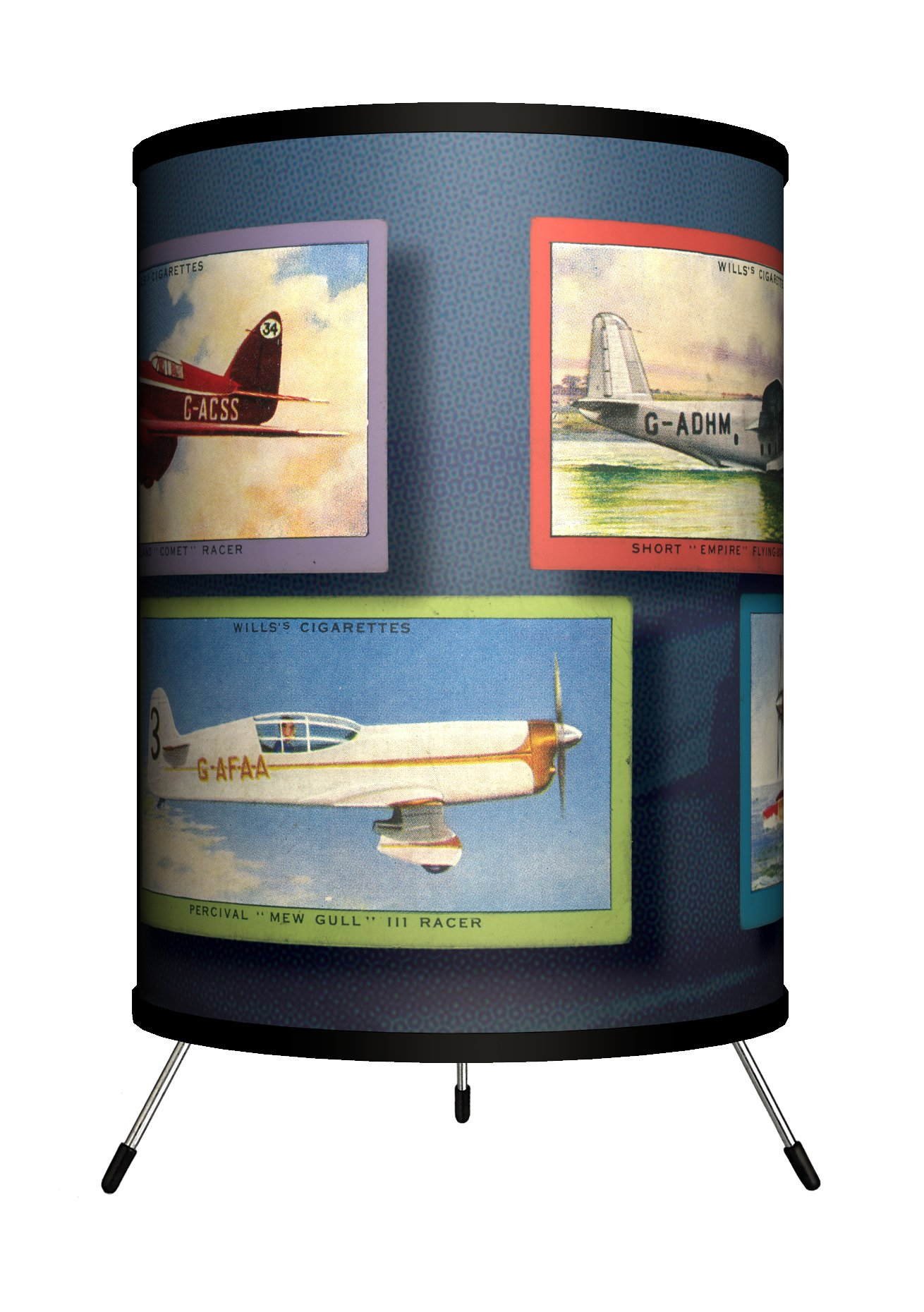 Lamp-In-A-Box TRI-TTN-VAIRP Transportation Vintage Airplanes Tripod Lamp, 8'' x 8'' x 14'' by Lamp-In-A-Box