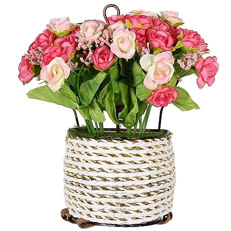 Amazon generic garden artificial flowers hanging baskets generic garden artificial flowers hanging baskets semicircle hanging spring cest suit pink mightylinksfo