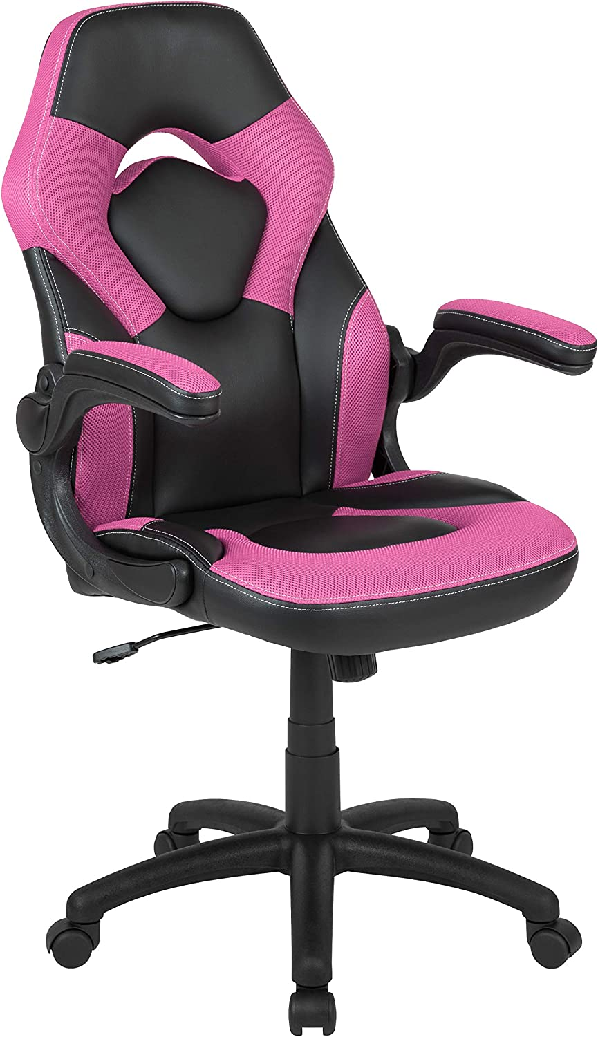 Flash Furniture X10 Gaming Chair Racing Office Ergonomic Computer PC Adjustable Swivel Chair with Flip-up Arms, Pink/Black LeatherSoft