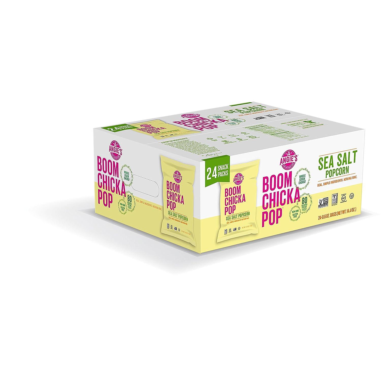 Angie's BOOMCHICKAPOP Gluten Free Sea Salt Popcorn, 0.6 Ounce Vegan Snack Pack Bags (Pack of 24)