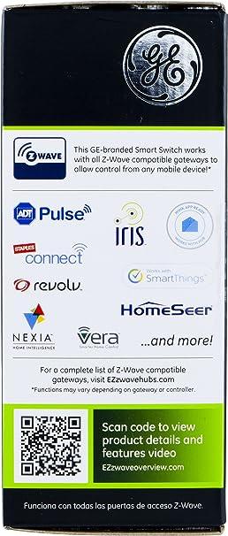 iris zwave ge 45637 wireless lighting. GE Z-Wave Wireless Smart Lighting Control Switch, On/Off, In-Wall, Includes White \u0026 Light Almond Paddles, Works With Amazon Alexa, Iris Zwave Ge 45637