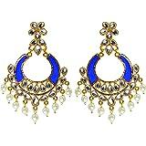 BEATNIK Traditional Gold Plated Stylish Fancy Party Wear Kundan Peal Chandbali Earrings for Women and Girls