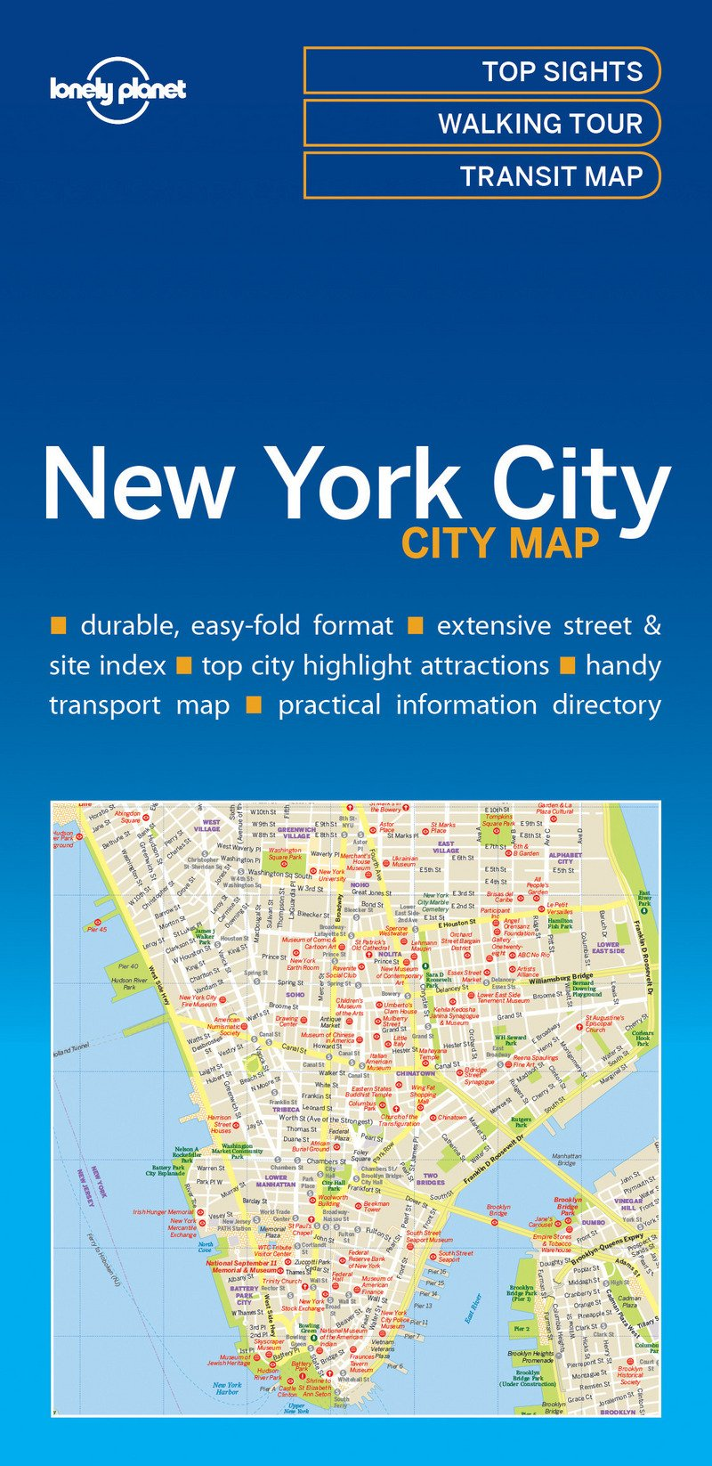 A Map Of New York City.Lonely Planet New York City Map Amazon Co Uk Lonely Planet