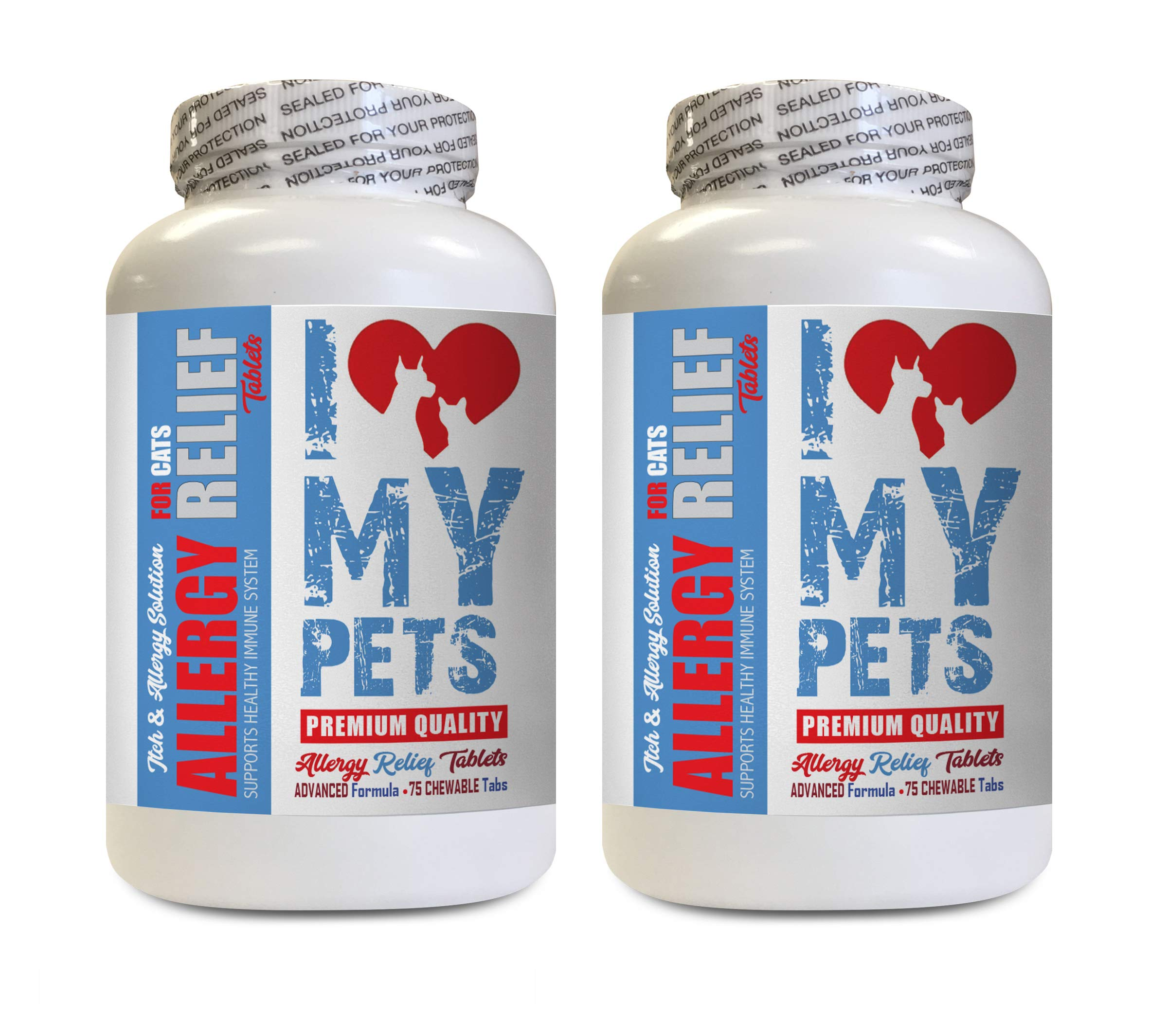 I LOVE MY PETS cat Allergy Pills - Cats Allergy Relief - Itch Relief - Premium Supplement - Treats - cat Skin and Itch - 150 Tablets (2 Bottles)