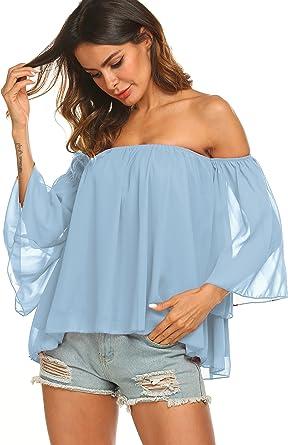 Women/'s Chiffon Summer Blouse w// Shredded Back Stripe Printed Top w// Waist Tie