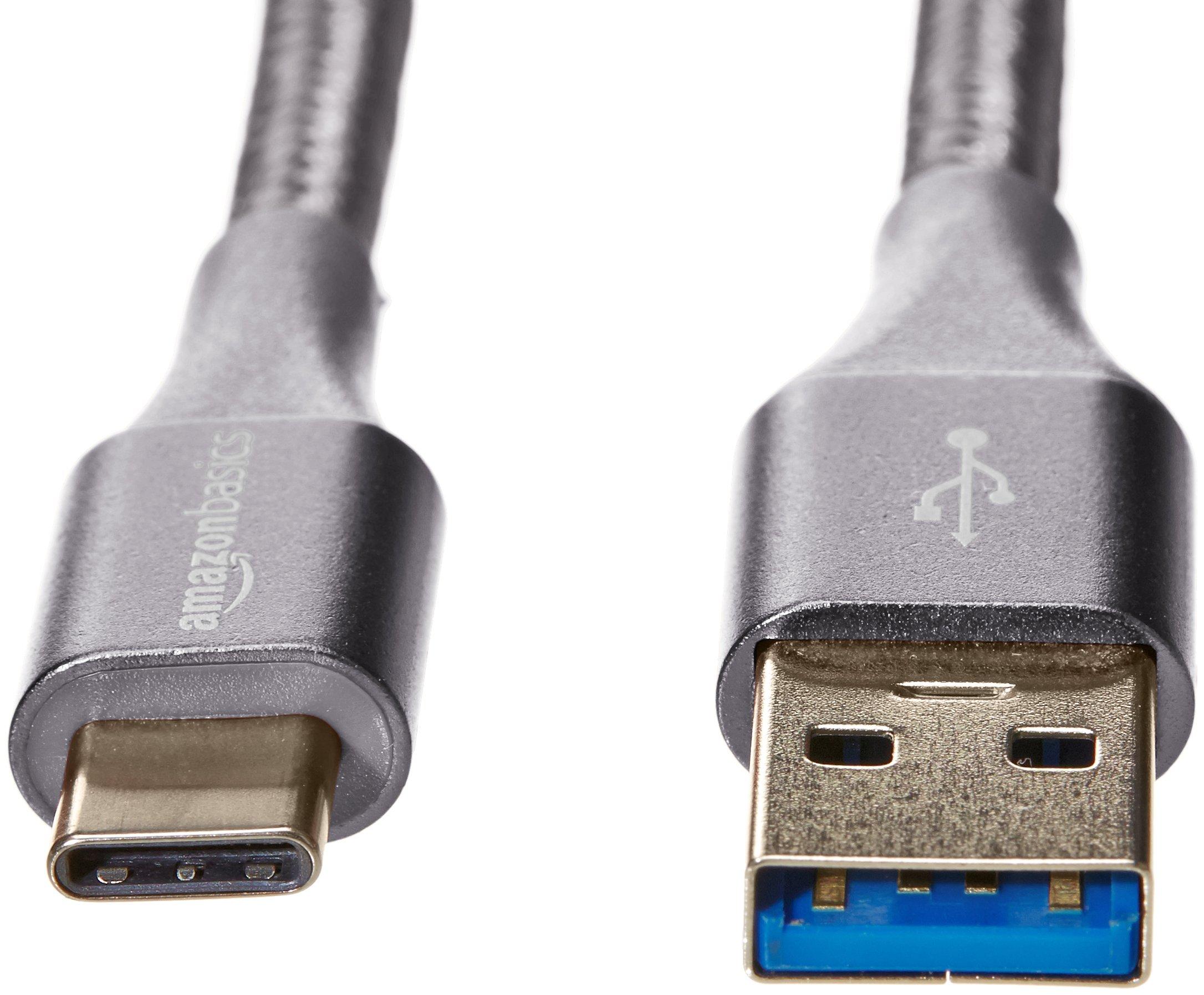 AmazonBasics Double Braided Nylon USB Type-C to Type-A 3.1 Gen 2 Cable   1 feet, Dark Grey by AmazonBasics (Image #4)