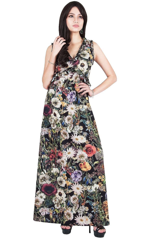 e79b5d98eec1 Viris Zamara Womens Floral Printed Long V-Neck Sleeveless Sexy Maxi Dress  at Amazon Women s Clothing store