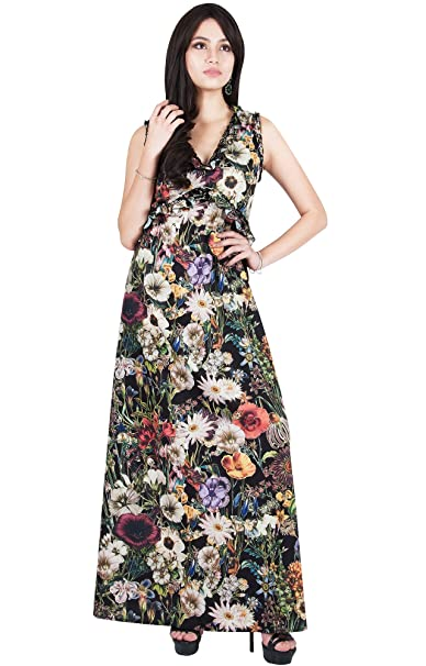 816e0d3adb8 Viris Zamara Petite Womens Floral Print Long V-Neck Sleeveless Sexy  Bridesmaid Evening Slimming Casual
