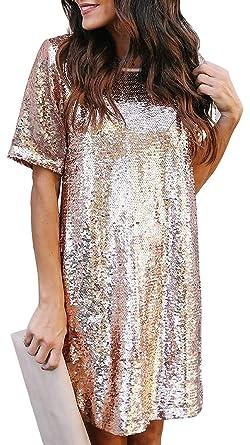8c8054d22bb18 Radish Stars Women Sequin Dress Shimmer Glitter T-Shirt Dress Rose Gold