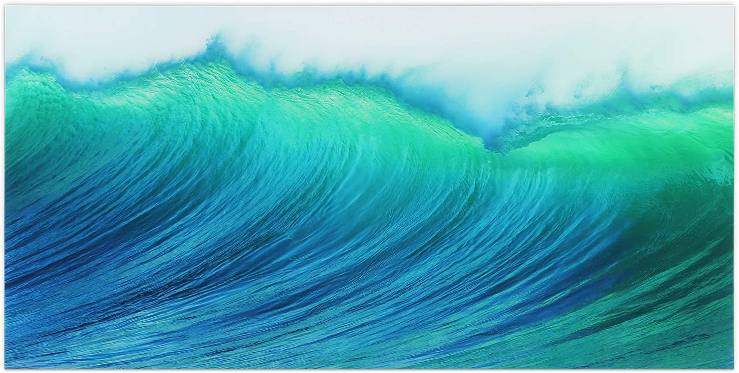 Empire Art Direct Blue Wave Art,Frameless Tempered Glass Panel,Contemporary Wall Decor Ready to Hang,Living Room,Bedroom & Office